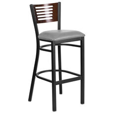 Black Decorative Slat Back Metal Restaurant Barstool with Mahogany Wood Back & Custom Upholstered Seat