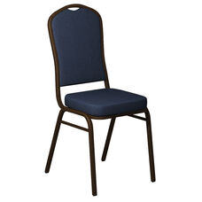 Embroidered Crown Back Banquet Chair in Shire Tuscan Blue Fabric - Gold Vein Frame