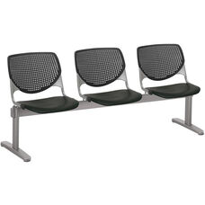 2300 KOOL Series Beam Seating with 3 Poly Perforated Back and Seats with Silver Frame - Black