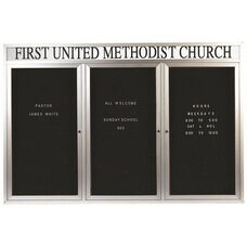 3 Door Outdoor Illuminated Enclosed Directory Board with Header and Aluminum Frame - 48