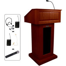 Victoria Wireless 150 Watt Sound and Hand Held Mic Lectern - Mahogany Finish - 26.375''W x 21.5''D x 47.5''H