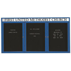 3 Door Indoor Illuminated Enclosed Directory Board with Header and Blue Anodized Aluminum Frame - 48