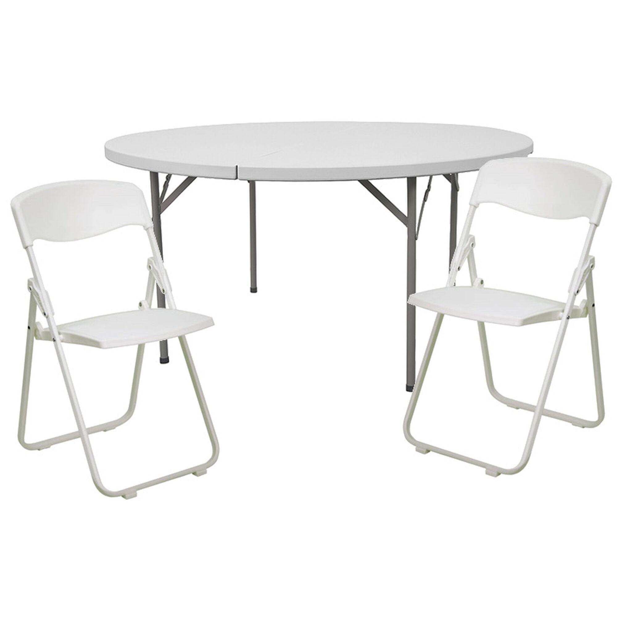 60rd White Fold Table Set Dad Ycz 154 Gw Rut I White Set Gg Churchchairs4less Com