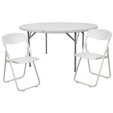 5-Foot Round Banquet Table Set with 8 Folding Chairs
