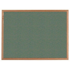 VIC Cork Bulletin Board with Red Oak Frame - Green - 36