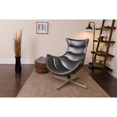 Gray Leather Swivel Cocoon Chair