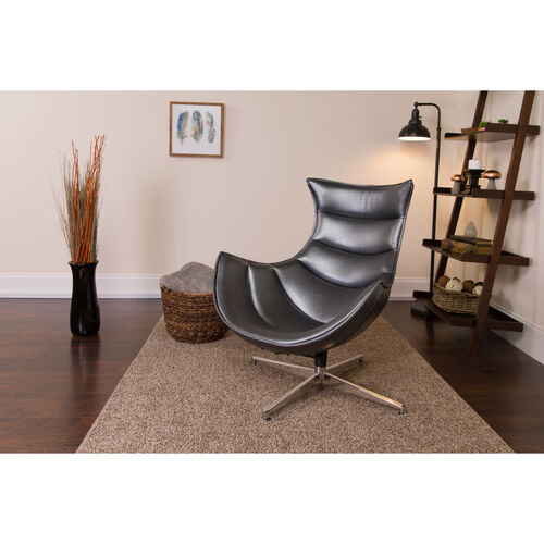 Our Gray Leather Swivel Cocoon Chair is on sale now.