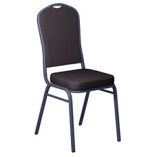 Embroidered Shire Stable Fabric Upholstered Crown Back Banquet Chair - Silver Vein Frame