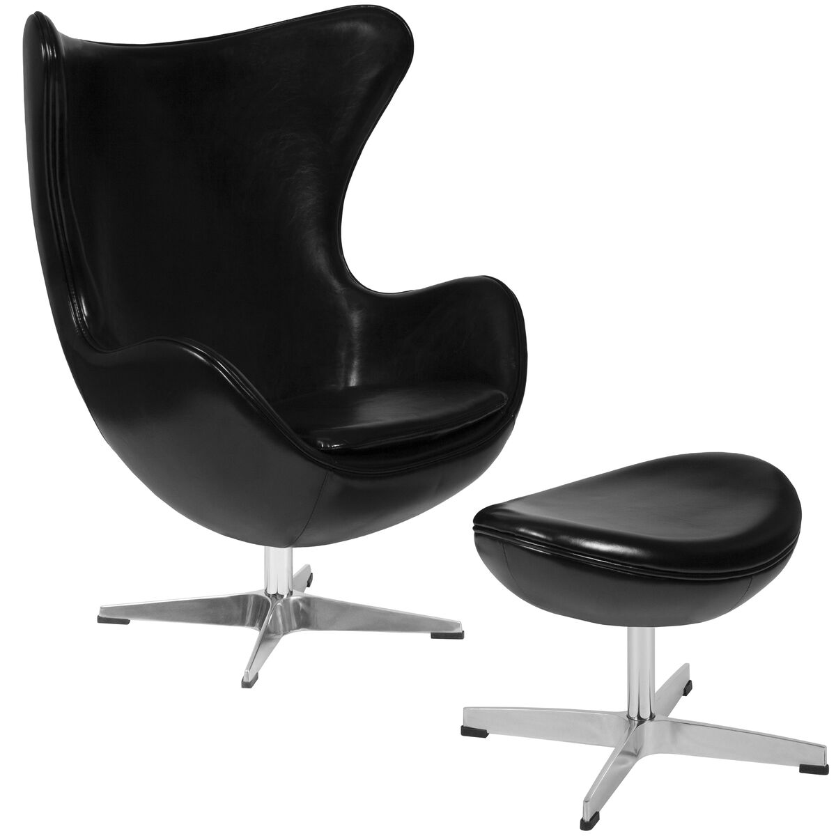 Surprising Black Leather Egg Chair With Tilt Lock Mechanism And Ottoman Ibusinesslaw Wood Chair Design Ideas Ibusinesslaworg