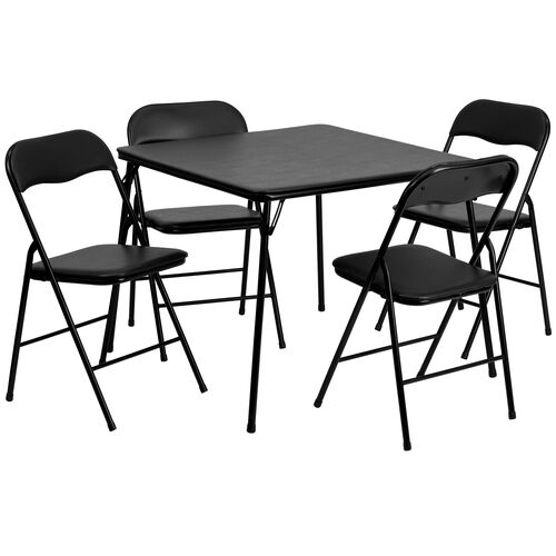 Our 5 Piece Black Folding Card Table and Chair Set is on sale now.