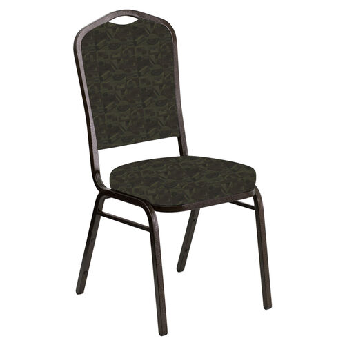 Our Embroidered Crown Back Banquet Chair in Perplex Mint Chocolate Fabric - Gold Vein Frame is on sale now.