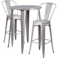 """Commercial Grade 30"""" Round Silver Metal Indoor-Outdoor Bar Table Set with 2 Cafe Stools"""