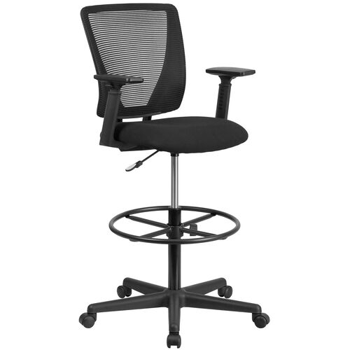 Our Ergonomic Mid-Back Mesh Drafting Chair with Black Fabric Seat, Adjustable Foot Ring and Adjustable Arms is on sale now.