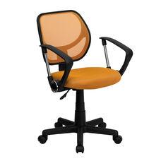 Mid-Back Orange Mesh Swivel Task Chair with Arms