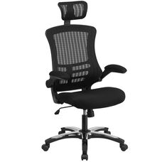 High Back Black Mesh Ergonomic Executive Swivel Office Chair with Chrome Plated Nylon Base and Flip-Up Arms