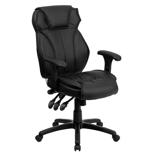 Our High Back Black Leather Multifunction Executive Swivel Ergonomic Office Chair with Lumbar Support Knob with Arms is on sale now.