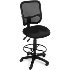 Mesh Comfort Ergonomic Task Chair with Drafting Kit - Black