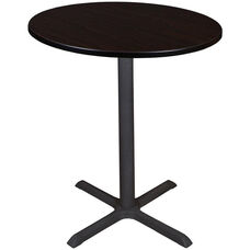 Cain 36'' Round Laminate Cafe Table with PVC Edge - Walnut