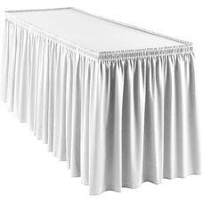 Wyndham 13 Foot Shirred Pleat Table Skirt with SnugTight™ Clips - White