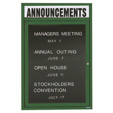 1 Door Indoor Enclosed Directory Board with Header and Green Anodized Aluminum Frame - 36