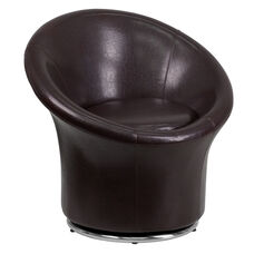 Brown Leather Swivel Lounge Chair