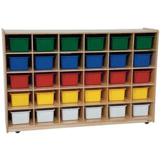 Wooden Storage Unit with 30 Assorted Plastic Trays - 58