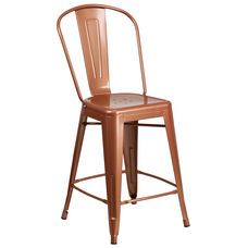 """Commercial Grade 24"""" High Copper Metal Indoor-Outdoor Counter Height Stool with Back"""