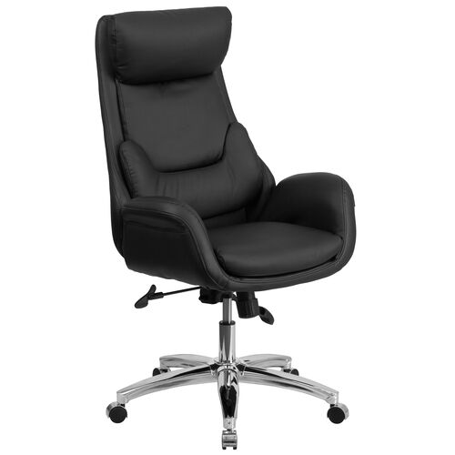 Our High Back Black LeatherSoft Executive Swivel Office Chair with Lumbar Pillow and Arms is on sale now.
