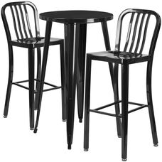"""Commercial Grade 24"""" Round Black Metal Indoor-Outdoor Bar Table Set with 2 Vertical Slat Back Stools"""
