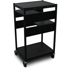 Vizion Spartan Series Classroom Media Projector Cart with Two Pull-Out Side-Shelves - Black