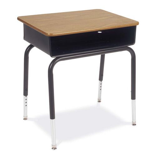 Our Quick Ship 785 Series Medium Oak Laminate Top Student Desk with Black Open Front Metal Book Box and Frame - 18