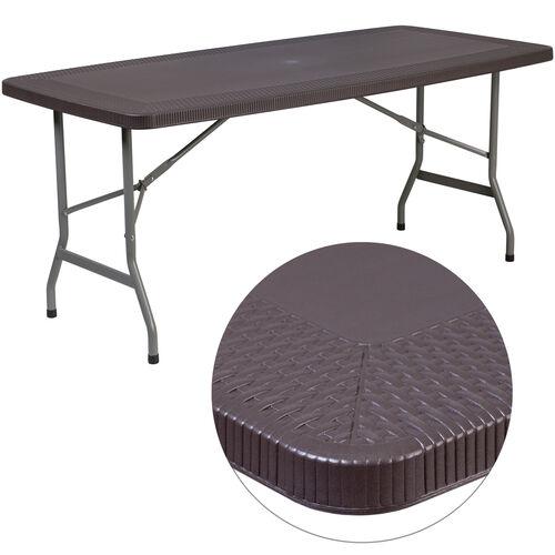 5.62-Foot Brown Rattan Indoor-Outdoor Plastic Folding Table