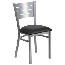 Silver Slat Back Metal Restaurant Chair