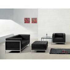 HERCULES Imagination Series Black LeatherSoft Loveseat, Chair & Ottoman Set