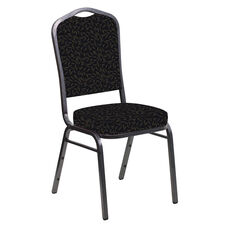 Embroidered Crown Back Banquet Chair in Jasmine Blissful Blue Fabric - Silver Vein Frame