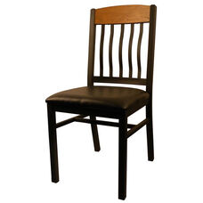 Metal Vertical Slat Back Chair with Black Vinyl Seat