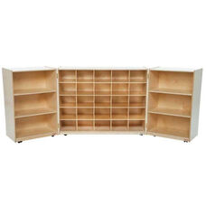 25 Cubby Tri-Fold Cabinet with Additional Shelving on Each Side - 48-96