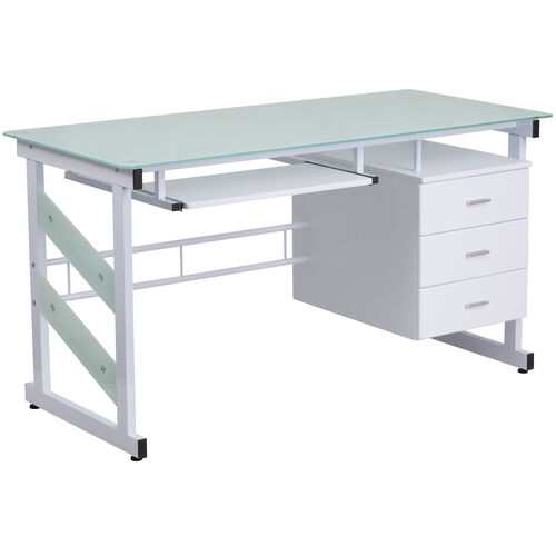 Our White Computer Desk with Frosted Glass Top and Three Drawer Pedestal is on sale now.
