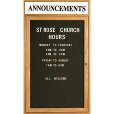 1 Door Enclosed Changeable Letter Board with Header and Oak Finish - 24