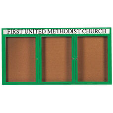 3 Door Indoor Enclosed Bulletin Board with Header and Green Powder Coated Aluminum Frame - 36