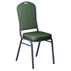 Embroidered Biltmore Lawn Fabric Upholstered Crown Back Banquet Chair - Silver Vein Frame
