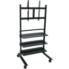 Steel Frame Mobile Universal LCD TV Stand with LCD Mount and 3 Shelves - Black - 31.5