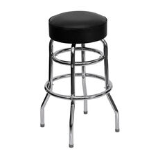 Double Ring Chrome Barstool with Black Vinyl Swivel Seat