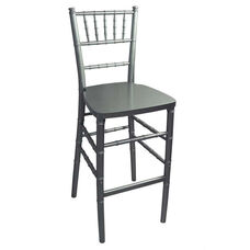 Legacy Series Stacking Wood Gloss Finish Chiavari Bar Stool - Silver Finish