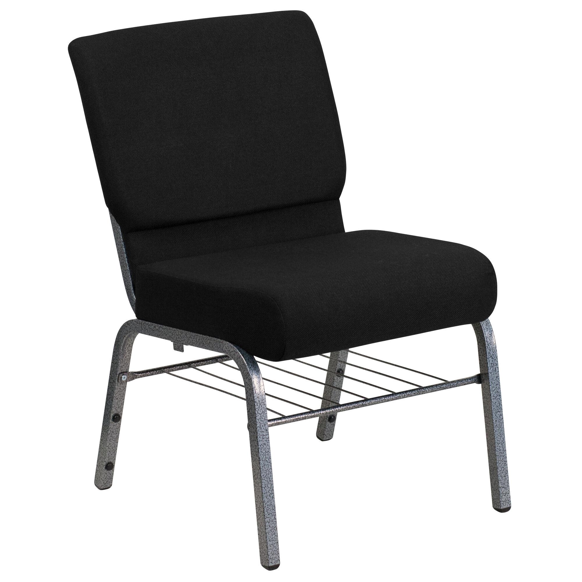 Black Fabric Church Chair XU-CH0221-BK-SV-BAS-GG