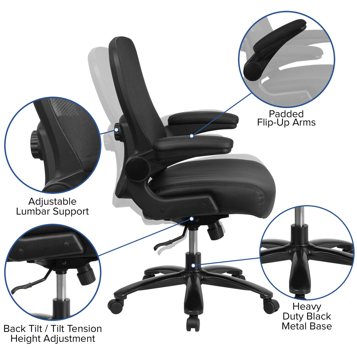 Cool Hercules Series Big Tall 500 Lb Rated Black Mesh Leather Executive Ergonomic Office Chair With Adjustable Lumbar Gamerscity Chair Design For Home Gamerscityorg