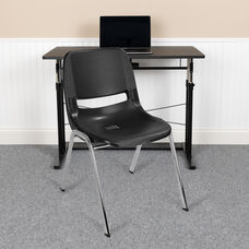 HERCULES Series 661 lb. Capacity Black Ergonomic Shell Stack Chair with Chrome Frame and 16