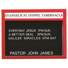 Double Sided Illuminated Community Board with Header and Red Powder Coat Finish - 36