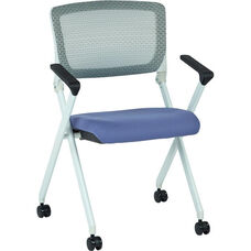 Space Pulsar Folding Chair with Breathable Mesh Back and Fabric Seat - Set of 2 - Violet
