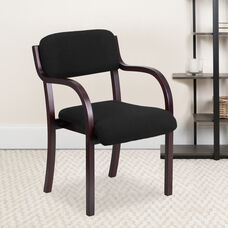 Contemporary Mahogany Wood Side Reception Chair with Arms and Black Fabric Seat